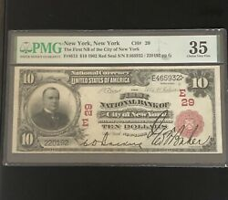 1902 10 National Bank Note Red Seal The First Nb Of New York Ch29 Pmg 35 🇺🇸