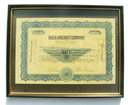 Vintage 1929 Bach Aircraft Company Framed Capital Stock Certificate Los Angeles