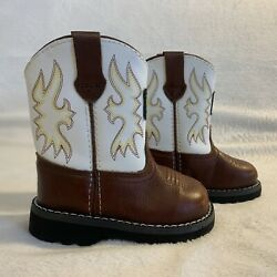 John Deere Jd 1133 Infant Size 4m Brown White Top Leather Pull On Boots