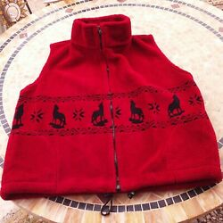 Vintage Silver Threads Great Falls Usa Fleece Vest -m Pockets Coyote Western Red