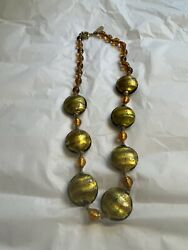 Signed Hilary London Murano Glass And Gold Tone Metal Necklace
