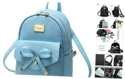 Girls Bowknot Cute Leather Backpack Mini Backpack Purse for Women Sky Blue $37.65
