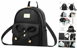 Girls Bowknot Cute Leather Backpack Mini Backpack Purse for Women A A black $35.94