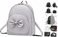 Girls Bowknot Cute Leather Backpack Mini Backpack Purse for Women Grey $34.23