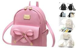 Girls Bowknot Cute Leather Backpack Mini Backpack Purse for Women Pink $37.65