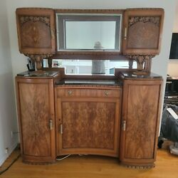 Sale Antique French Breakfront With Carvings And Burl Veneer, Marble And Glass