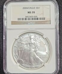2004 American Silver Eagle - Ngc Ms70 Perfect Coin