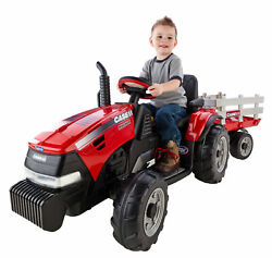 Tractor And Trailer Kids Ride On 4 Wheeler All Terrain 12-volt Battery Powered