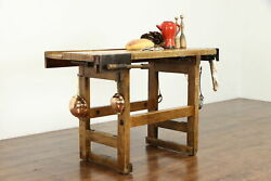 Industrial Salvage Antique Workbench Kitchen Island Wine And Cheese Table 39185