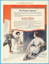 1921 Three In One Oil Co New York Family Lubricant Skates Toys Handy Can Ad