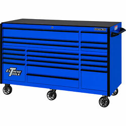 Extreme Tools Rx Series 72in.l X 30in.w 19 Drawer Tool Roller Cabinet - Blue