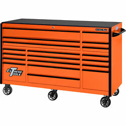 Extreme Tools Rx Series 72in.l X 30in.w 19 Drawer Tool Roller Cabinet - Orange
