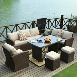 Cushined Outdoor 7-piece Patio Wicker Coversation Dining Set