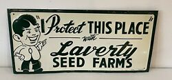 Vintage Early Original Tin Embossed Laverty Seed Farms Sign