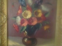 Vintage Signed Floral In Vase Oil Painting By Italian Artist Del Monteand039