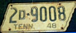 1948 Tennessee Shape 2d9008 License Platetag