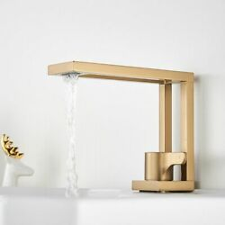 Basin Faucet Square Brushed Lavatory Sinks Mixer Gold Design Deck Mounted Waters