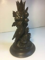 Antique Black Forest Swiss Wood Carved Bird Epergne Vase Candle Stand