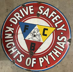 Rare Antique Porcelain Enameled Sign Advertising Drive Safely Knights Of Pythias