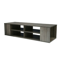 2-tiers Wall Mounted Media Console Floating Tv Shelf For Game Consoles Cd Rustic