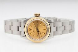 8000 Oyster Rolex Ladies 18k Yellow Gold Ss Watch And Wty And New Band 69173