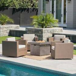 Puerta Outdoor 4-piece Wicker Swivel Chair Set With Square
