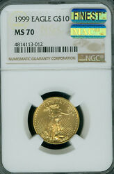 1999 Gold Eagle 10 1/4 Oz Ngc Ms70 Mac Finest Registry And Mac Spotless 012