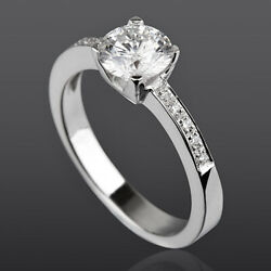 Diamond Solitaire Accented Ring 4 Prong 1.15 Ct Women 14 Kt White Gold New