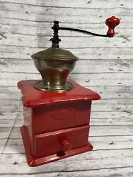 Vintage Antique Rustic Farmhouse Coffee Grinder Décor - Painted Cherry Red
