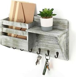 Mail Sorter Wall Mount And Key Organizer With 6 Key Hooks Rustic Gray