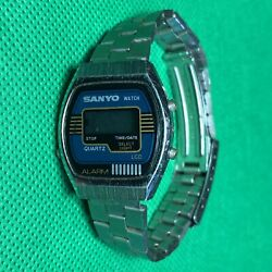 1980's Sanyo Digital Lcd Screen Ladies Quartz Alarm Stainless Steel Band And Watch