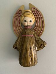 """12"""" Vintage J.a.c. Paper Mache Christmas Angel Gold And Pink W/ Blonde Hair"""