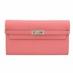 Hermes Kelly Wallet Long Engr A Bathing Vau Epson Leather Rose Azare Pink