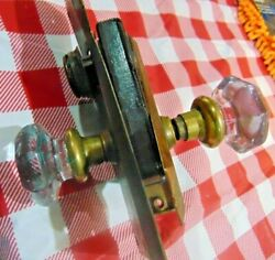 Nice Vintage Set Of Penn Brass And Glass Door Knobs And Brass Ficturers W Lock