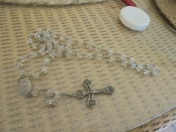 Vintage Sterling Silver And Crystal Rosary Inri Catholic