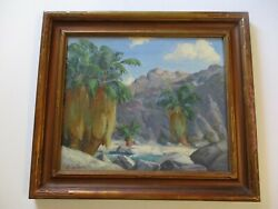 Antique Early California Plein Air Desert Painting And Carved Frame Listed Artist