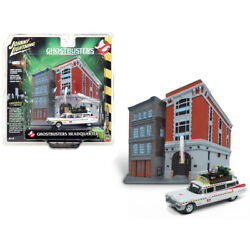 1959 Cadillac Ecto-1a Ambulance With Firehouse Exterior Diorama From Ghostbus...