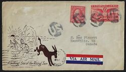 Us Wwii 1940s Patriotic Cover W/negative Us Fancy Cancels On Sc 425 C47 A Settin