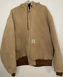 Vintage Mens Xxl Jacket Tan Made In Usa Duck Work Quilted Faded Brown