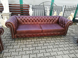 Chesterfield Leather Sofa Set Pads Seat 4+1+1 In 100 Vintage Leather Instant