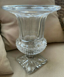 St Louis Crystal Art Glass Versaille Footed Vase 10.25 Antique Signed France