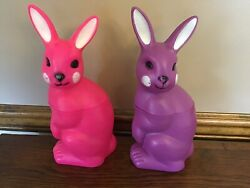 Easter Bunny Plastic Blow Mold Purple Pink Candy Container 10 1/2 Vintage Lot