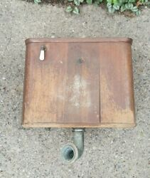 Antique Oak Wooden Toilet Wall Tank Mechanism And Wood Seat