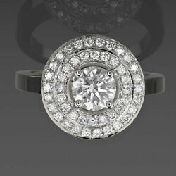 14 Kt White Gold Double Halo Diamond Ring Round Cut 2.17 Ct Size 4.5 6 7.5 9