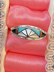 J Cheama Sterling Silver Onyx Turquoise Native American Indian Zuni Ring Sz 7