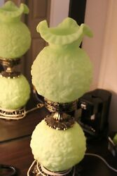 Lime Green Fenton Poppy Gone With The Wind Lamp