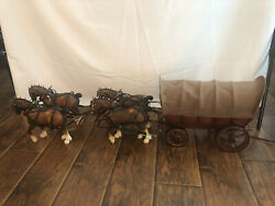 Vintage 4 Breyer Clydesdale Horses And Wagon Lamp Western Wagon Horse Team