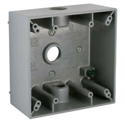 Raco 5333-0 Grey 3-7/8w 2 Gang Switch Box With 3 Threaded Outlets