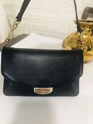 Kate Spade Crossbody Clutch Black Leather Three Compartment Small $38.00