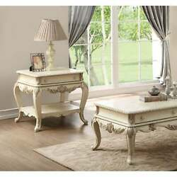 Acme Ragenardus Victorian End Table In Antique White N/a Traditional